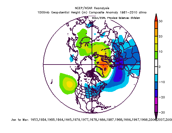 Typical surface height anomaly pattern during low solar activity time periods; courtesy NOAA/NCEP