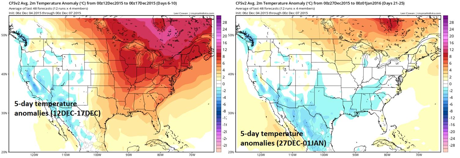 5-day temperature anomaly forecasts (12Dec-17 Dec - left; 27Dec-01Jan - right)