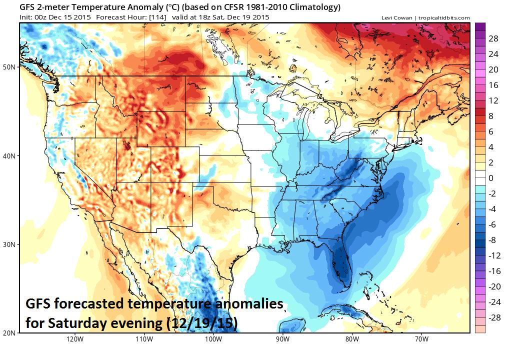 Temperature anomalies for Saturday evening; courtesy tropicaltidbits.com
