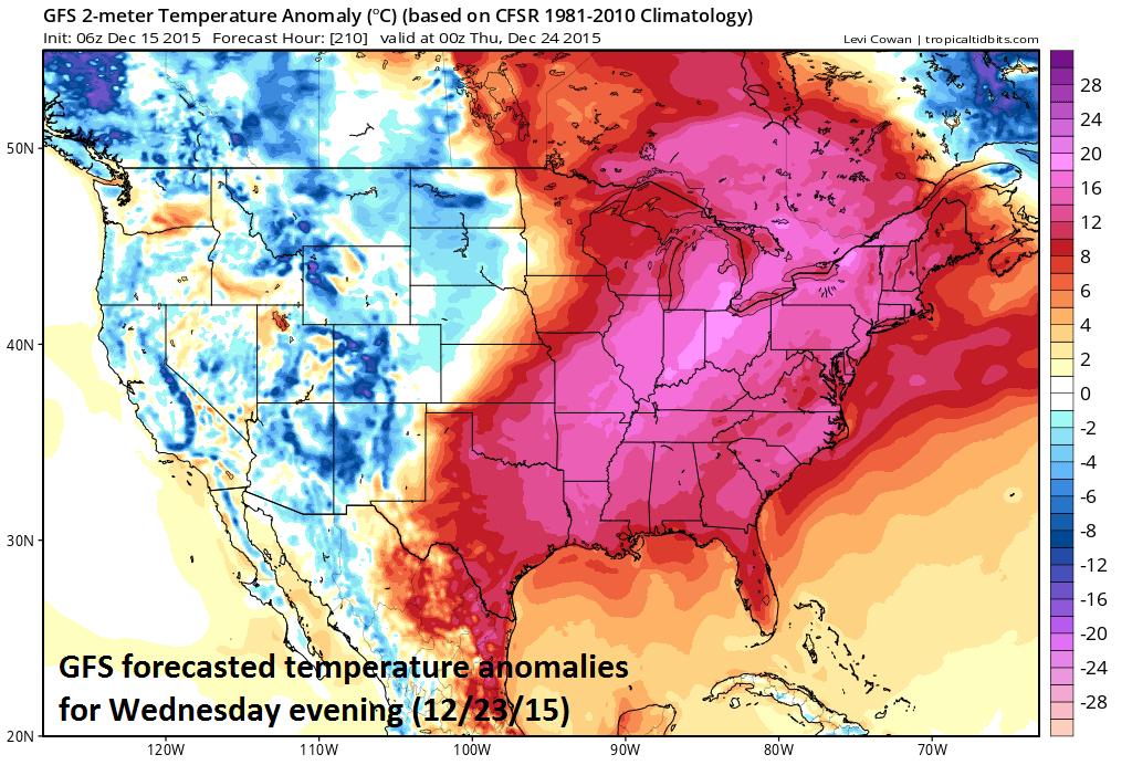 Temperature anomalies for next Wednesday evening; courtesy tropicaltidbits.com