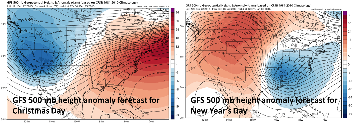 12Z GFS 500 millibar height anomaly forecast for Christmas Day and New Year's Day