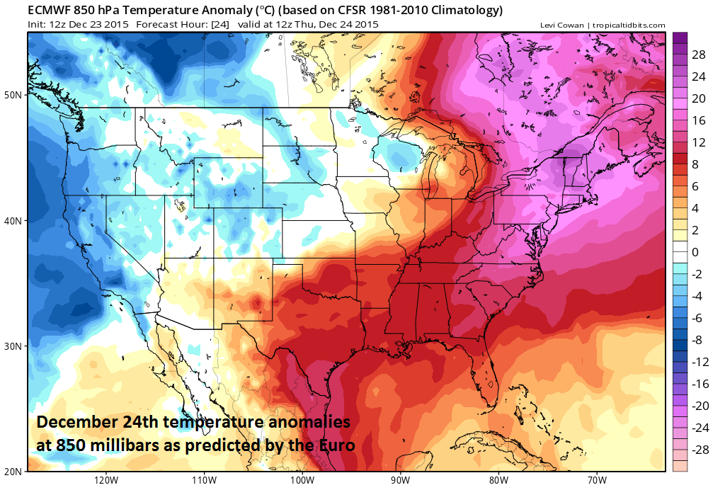 Lower atmosphere temperature anomalies for Thursday, December 24th; courtesy tropicaltidbits.com