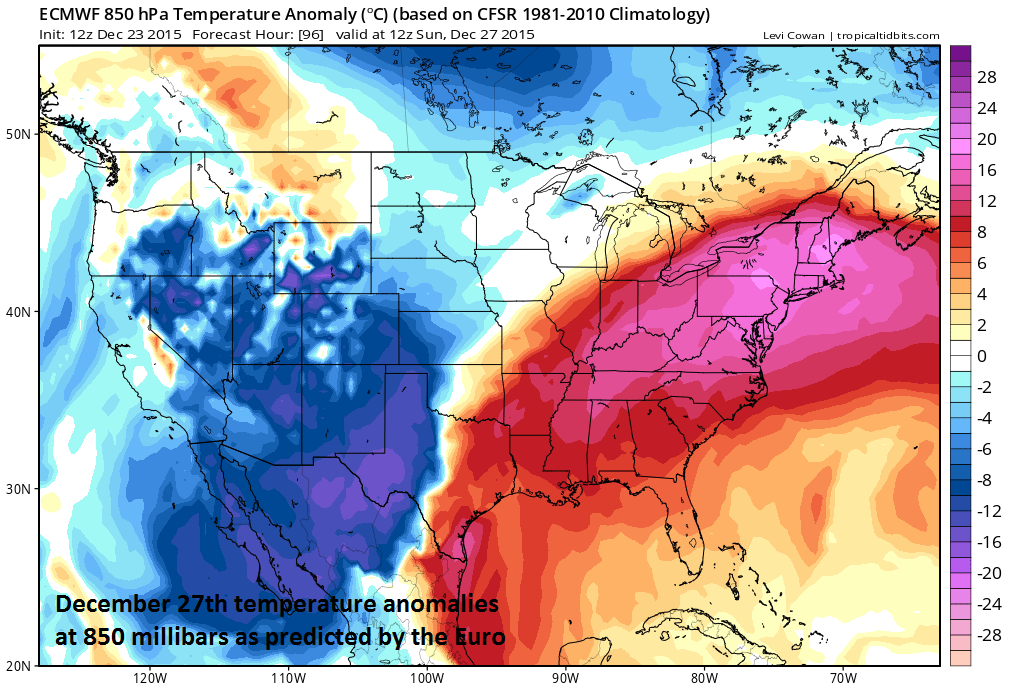 Lower atmosphere temperature anomalies for Sunday, December 27th; courtesy tropicaltidbits.com