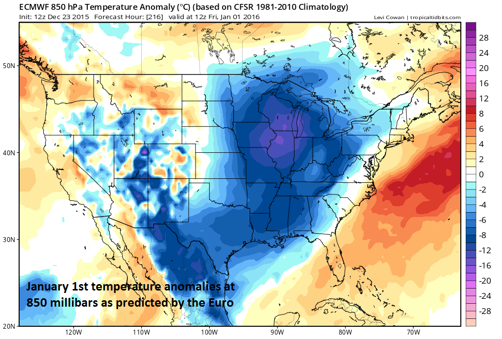 Lower atmosphere temperature anomalies for Friday, January 1st; courtesy tropicaltidbits.com