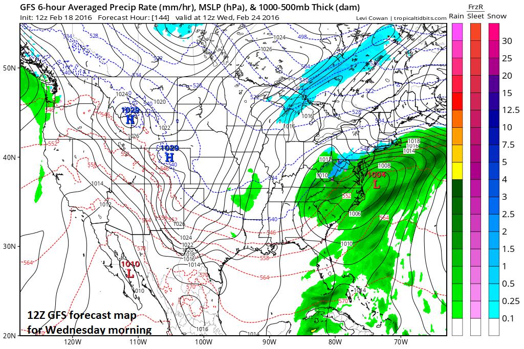 12Z GFS forecast map for Wednesday morning (blue=snow, green=rain); map courtesy tropicaltidbits.com, NOAA