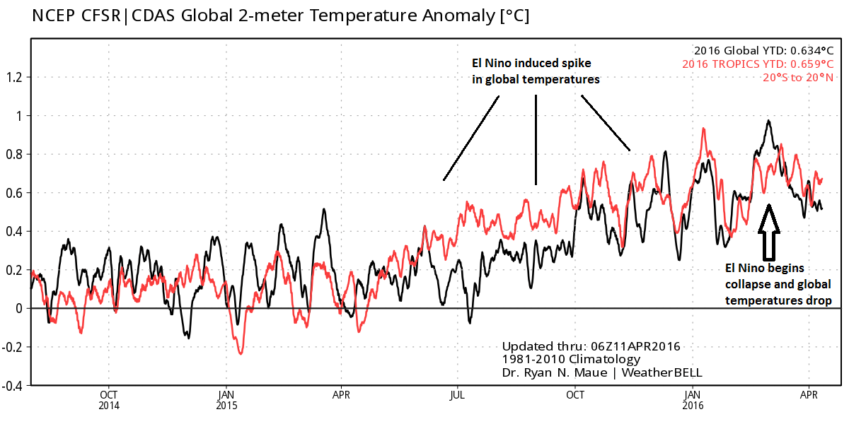 Global  temperature anomalies (black) since 2014,  tropics  temperature anomalies (red); courtesy Dr. Ryan Maue, Weather Bell Analytics