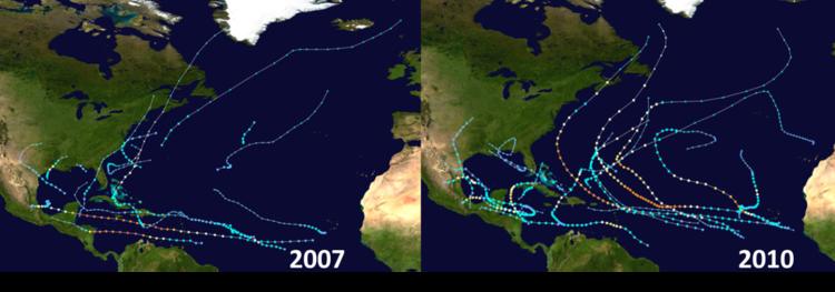 Storm tracks of Atlantic Basin tropical activity during six analog years; data courtesy Wikipedia