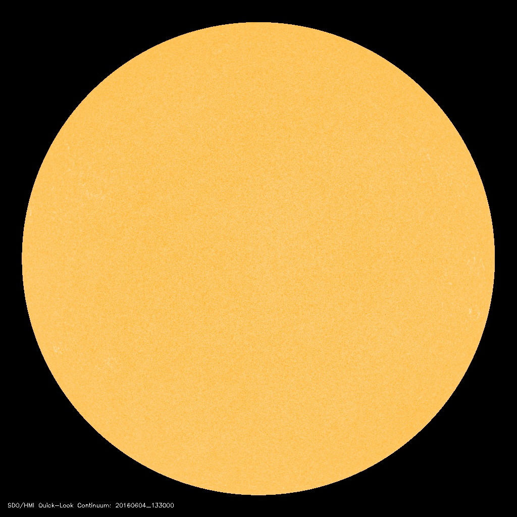 There are no visible sunspots on the most current solar image; courtesy NASA/SDO, spaceweather.com