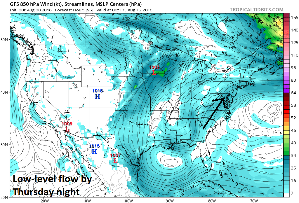 South-to-southwest flow in low-levels of the atmosphere by Thursday night (00Z GFS) to bring moisture up the eastern seaboard; map courtesy tropicaltidbits.com, NOAA