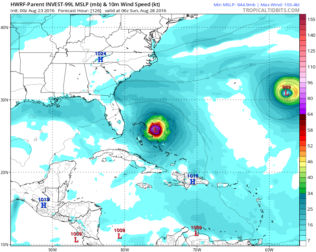NOAA's high-resolution HWRF computer forecast map for late Saturday night; map courtesy tropicaltidbits.com, NOAA