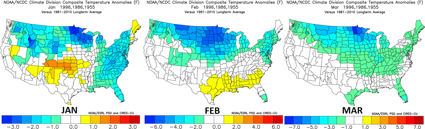 Month-to-month breakdown of temperature anomalies from January through March for the three selected analog years; data courtesy NOAA
