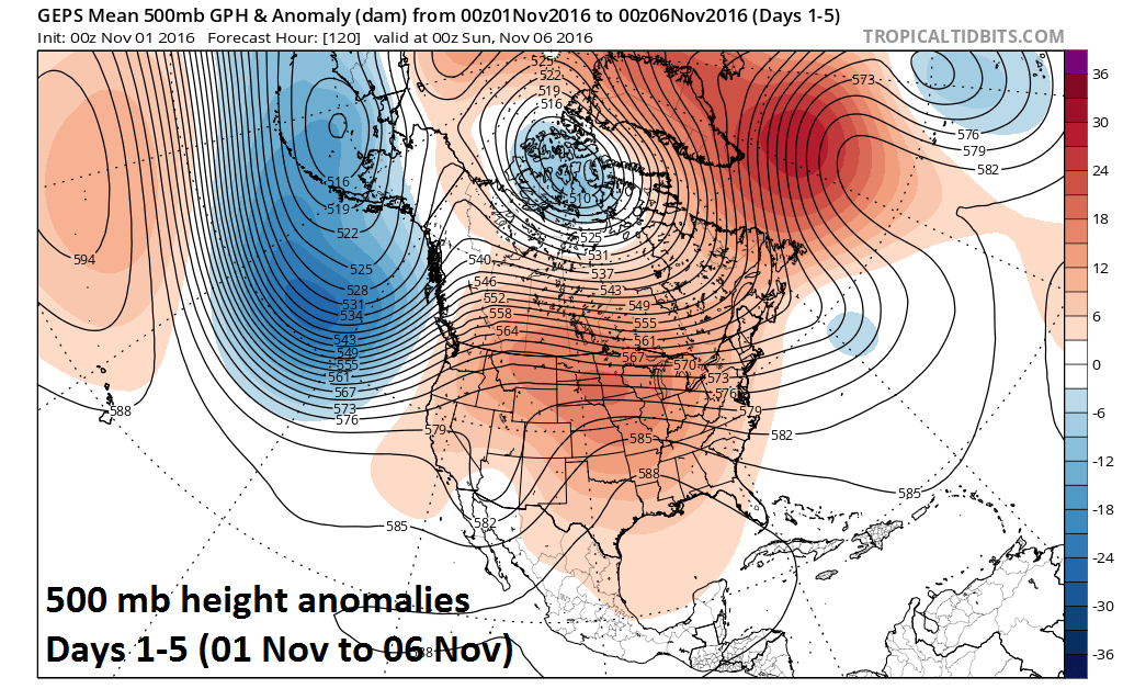 500 mb height anomalies in the current 5 day period; map courtesy tropicatidbits.com, NOAA