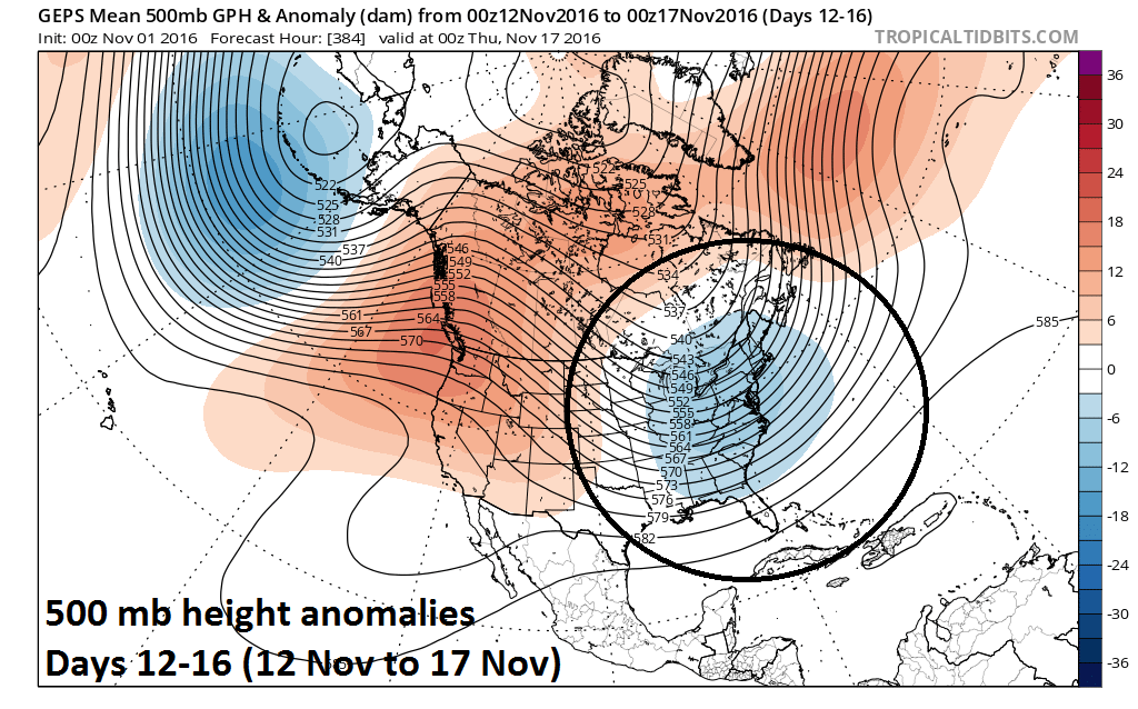 500 mb height anomalies in the days 12-16 time period; map courtesy tropicaltidbits.com, NOAA