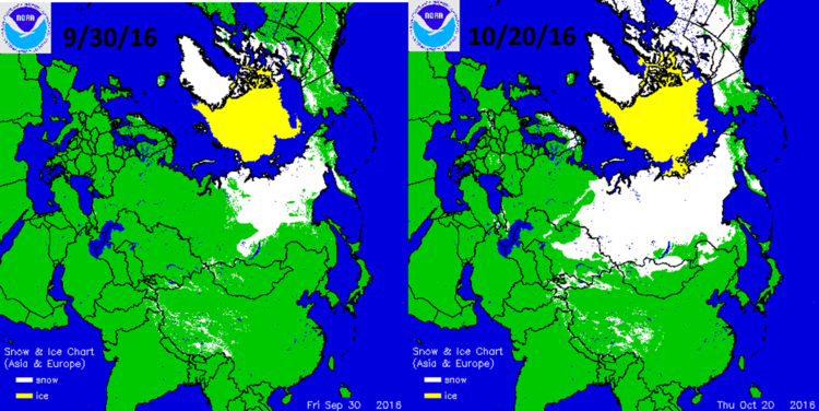 Noticeable expansion of Siberian snow cover (in white) from 9/30 (left) to 10/20 (right); courtesy NOAA