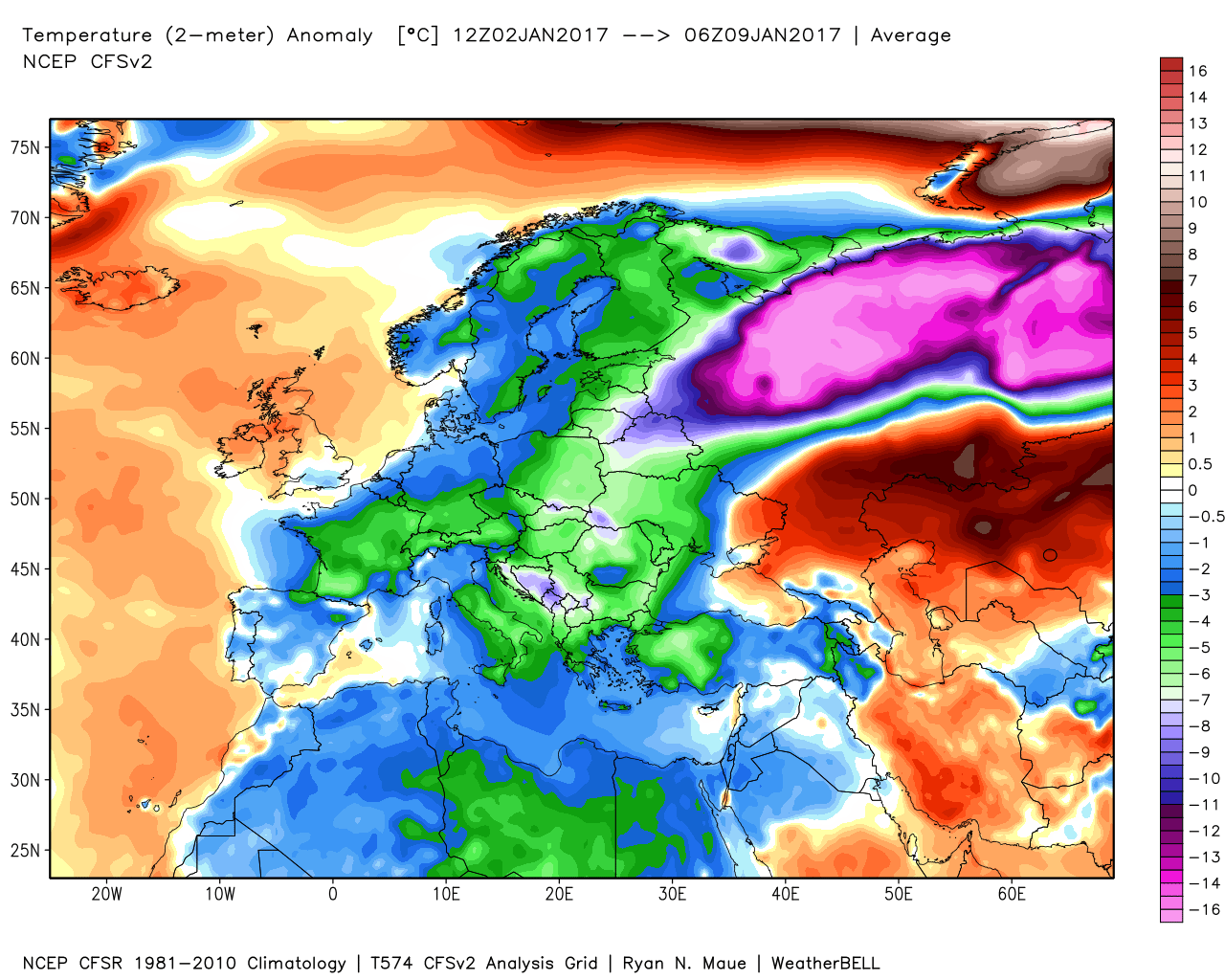 Temperature anomalies across Europe last 7 days; map courtesy Weather Bell Analytics