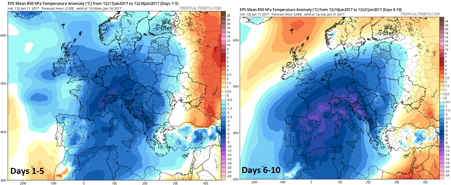 Temperature anomalies over the next ten days with days 1-5 (left) and days 6-10 (right) showing widespread colder-than-normal; maps courtesy tropicaltidbits.com