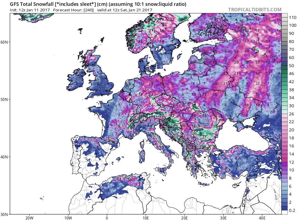 GFS total snowfall amounts predicted across Europe during the next ten days; map courtesy tropicaltidbits.com, NOAA/EMC (GFS)