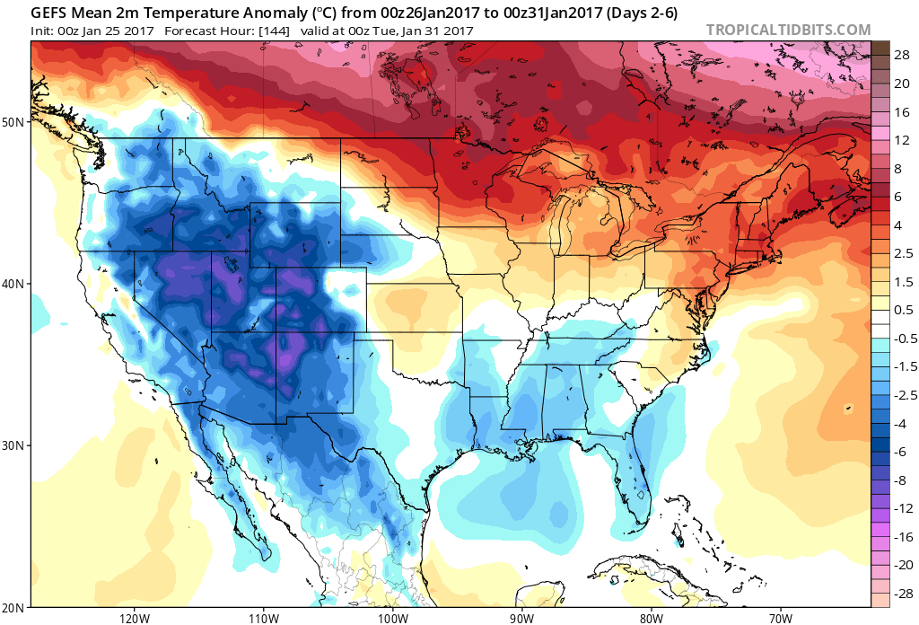 Temperature anomalies from 00Z GEFS for days 2-6, still above-normal in the Northeast US; courtesy tropicaltidbits.com, NOAA