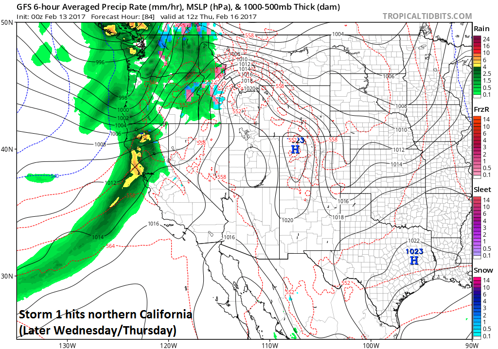 The next storm arrives in northern California later Wednesday and lasts into Thursday; map courtesy tropicatidbits.com, NOAA/EMC