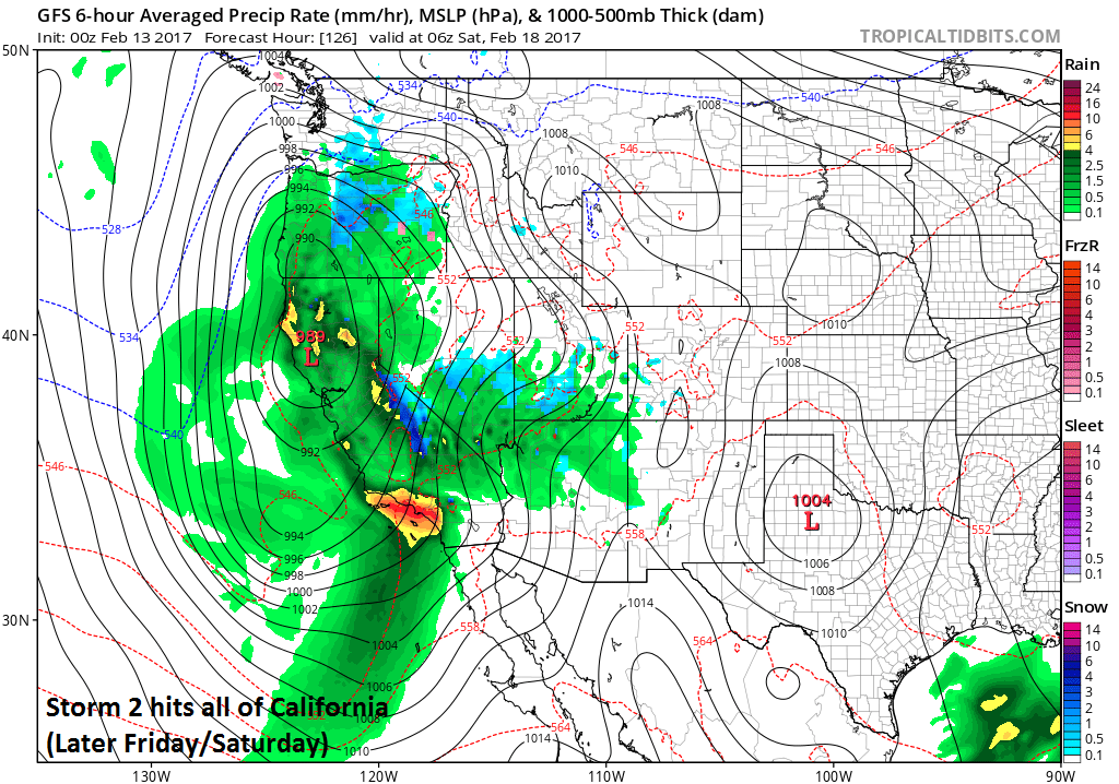 A second storm is likely to arrive in California by the upcoming weekend and this system is likely to impact the entire state; map courtesy tropicatidbits.com, NOAA/EMC