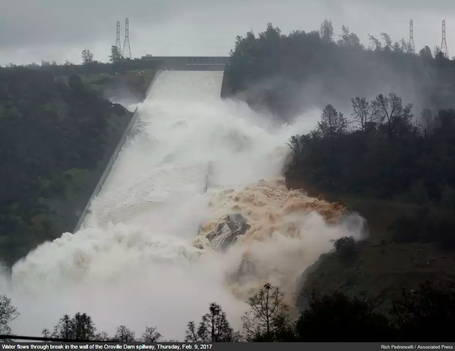 Oroville Dam as of Thursday, February 9th following heavy rainfall; photo courtesy Associated Press