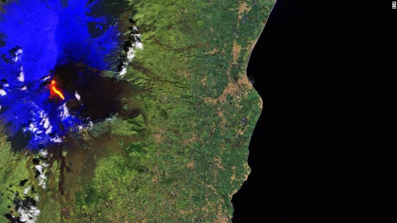 A satellite image of Mount Etna erupting on Thursday, March 16, 2017; courtesy Copernicus Sentinel-2A satellite.