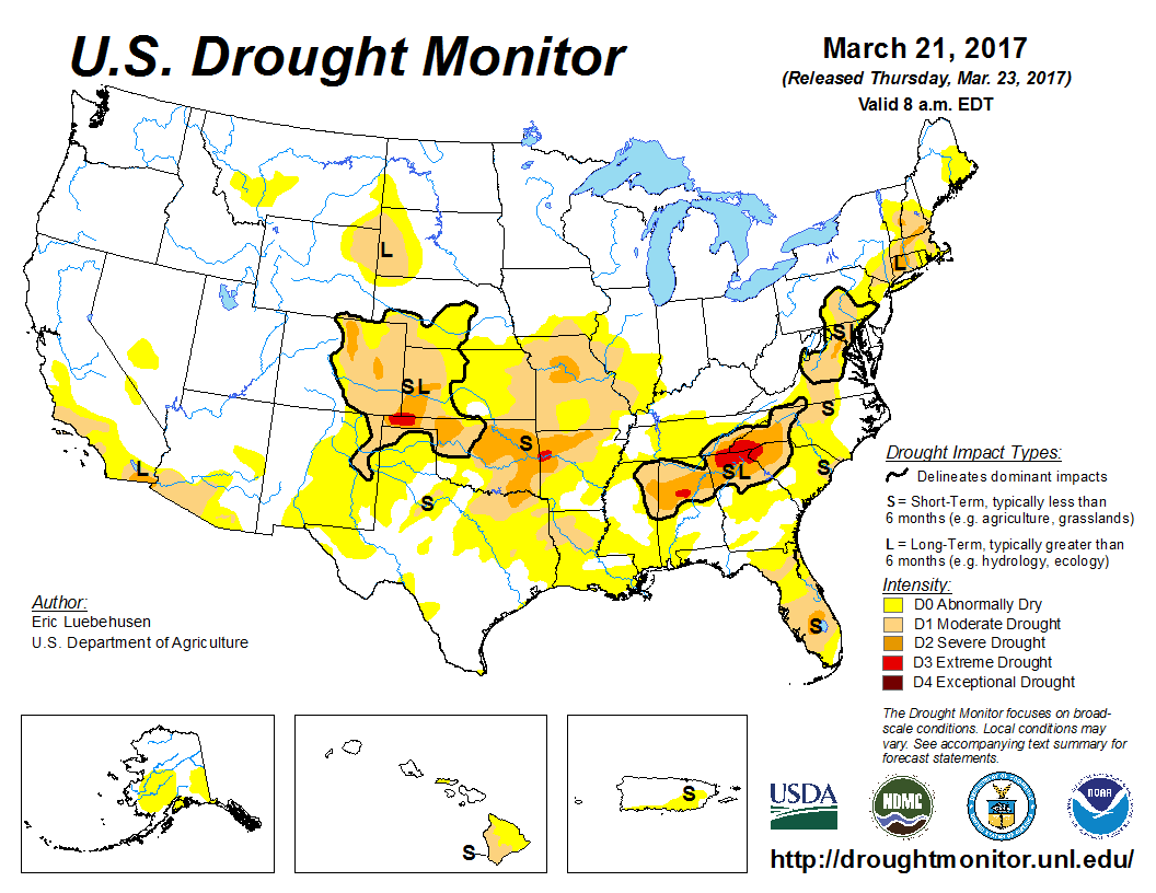 Current drought monitor map for the US produced by NOAA's Climate Prediction Center with dry conditions over much of the south-central and eastern US