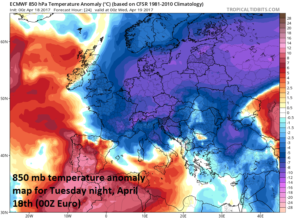 Lower atmosphere (850 mb, ~5000 feet) temperature anomaly forecast map for tonight across Europe by the 00Z Euro model; map courtesy tropicaltidbits.com