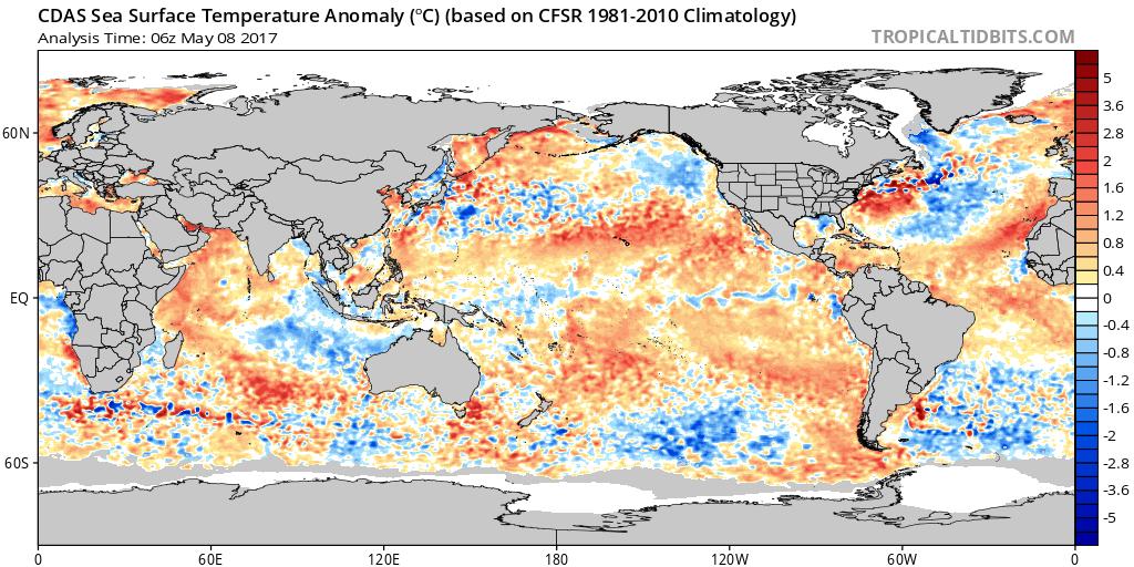 Sea surface temperature anomalies; map courtesy tropicaltidbits.com, NOAA