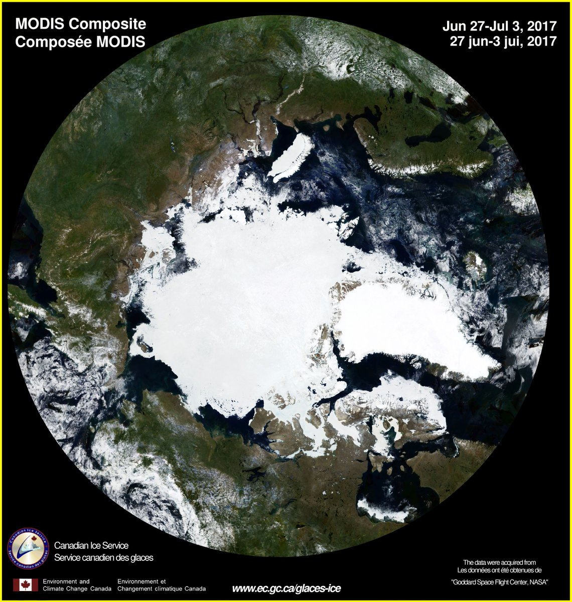 MODIS composite from June 27-July 3 time period showing snow/ice over Arctic region with Greenland in the middle, right portion of the image; courtesy NASA/Goddard