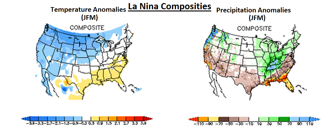 "Temperature and precipitation composites are shown for ""January/February/March"" during La Nina winters; data courtesy NOAA"
