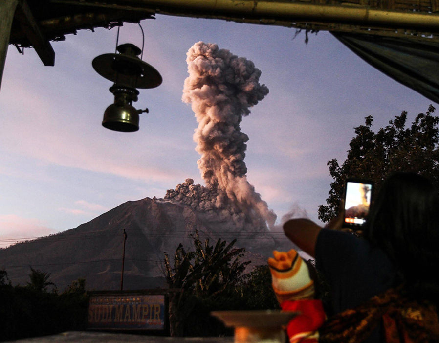 Yesterday's view of Mount Sinabung in Sumatra, Indonesia