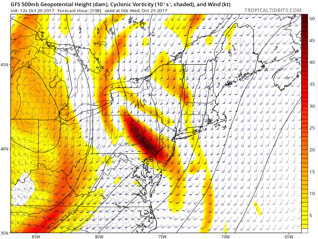 12Z GFS forecast map of 500 mb vorticity and winds next Tuesday evening features a strong wave of energy swinging through the Mid-Atlantic region and this could set off some severe thunderstorm activity. Map courtesy tropicaltidbits.com, NOAA/EMC