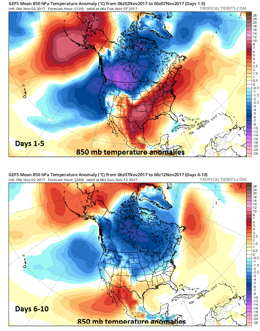 Persistent colder-than-normal conditions throughout most of Canada next ten days (days 1-5 (top) and days 6-10 (bottom)) as predicted by 06Z GEFS; maps courtesy tropicaltidbits.com, NOAA/EMC