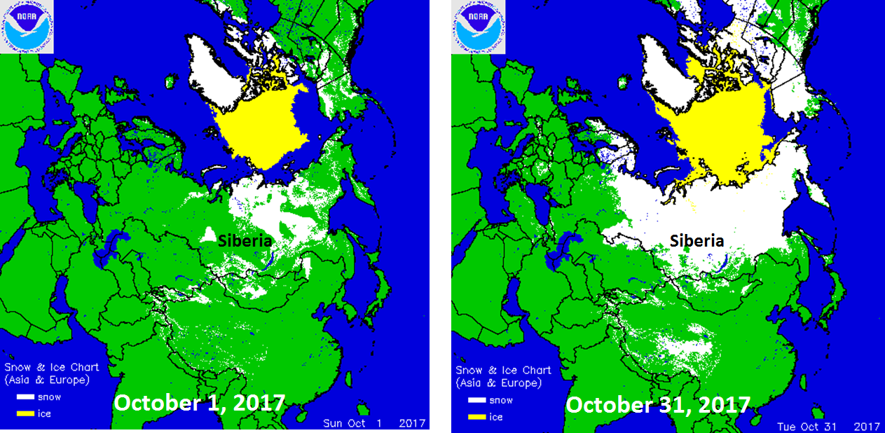 Snowpack increased dramatically across Siberia from the beginning of October (left) to the end of October (right); data courtesy NOAA/National Ice Center