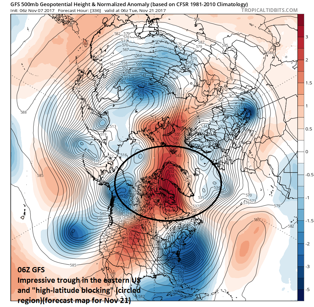 06Z GFS forecast of 500 mb height anomalies for November 21 featuring impressive high-latitude blocking (circled region); courtesy tropicaltidbits.com, NOAA/EMC