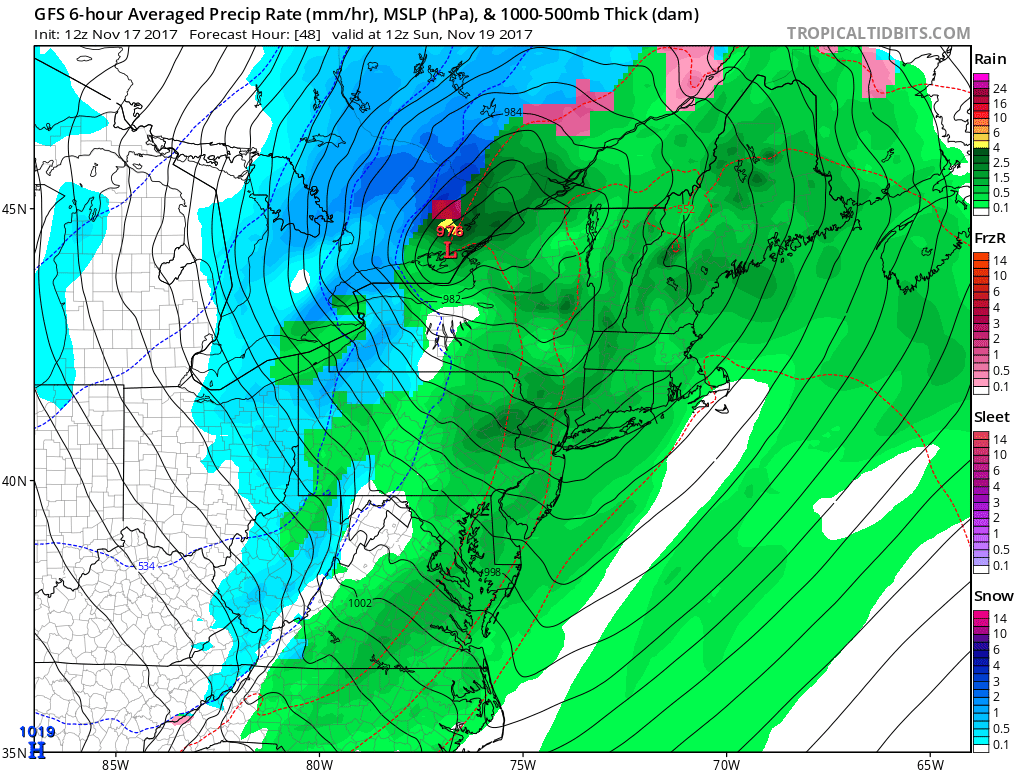 12Z GFS forecast map for Sunday morning with major storm located near Lake Ontario and a tight isobar pattern throughout the Great Lakes and Mid-Atlantic regions which suggests strong winds; courtesy tropicaltidbits.com, NOAA/EMC