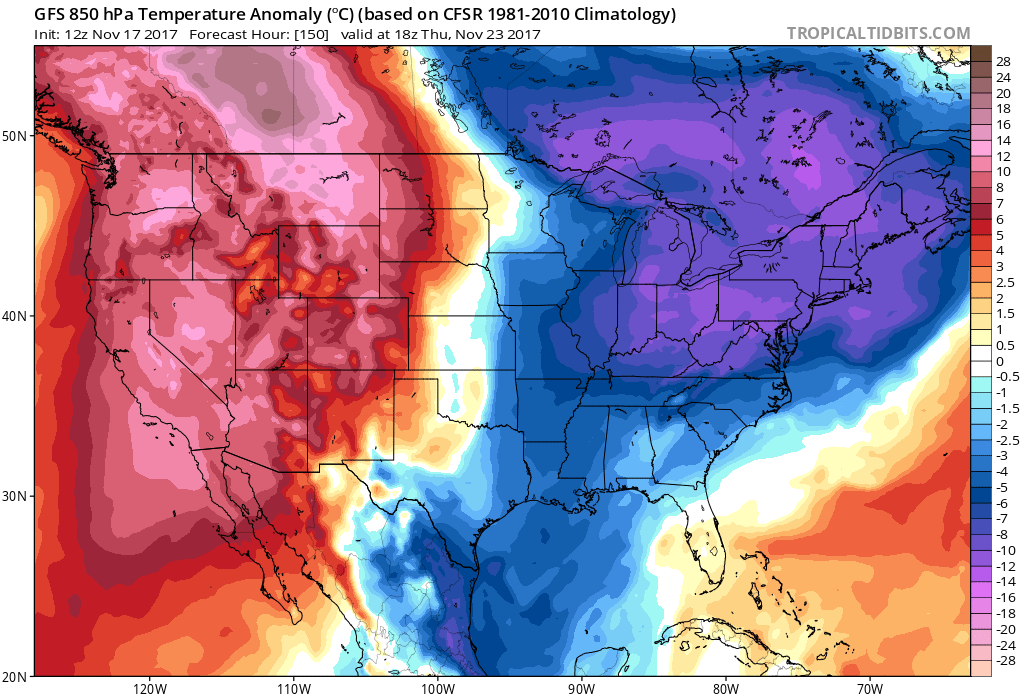 12Z GFS forecast map of 850 mb temperatures anomalies for Thanksgiving Day (early afternoon)...colder-than-normal in the eastern US; courtesy tropicaltidbits.com, NOAA/EMC