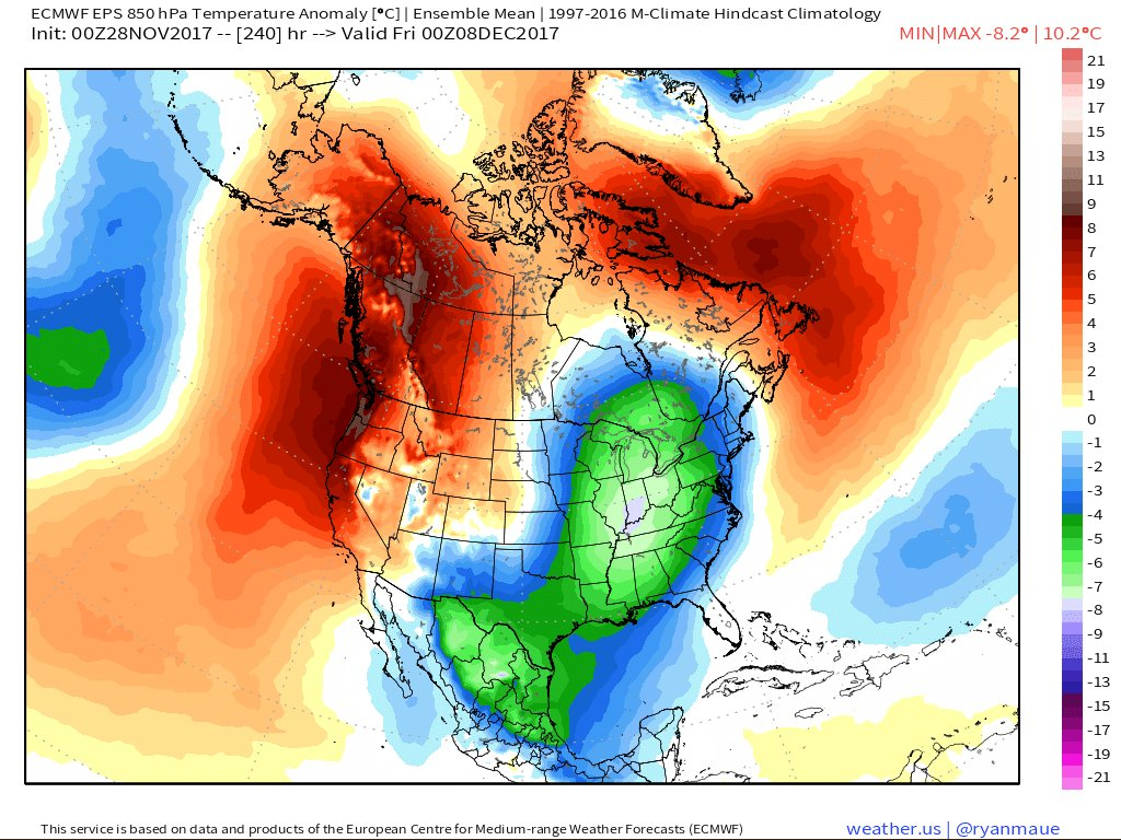 """The 10-day (Friday, December 8th) forecast map of 850 mb temperature anomalies from the 00Z Euro Ensemble (EPS) featuring colder-than-normal conditions (blue, green) throughout the eastern half of the nation. Map courtesy """"weather.us"""" (Dr. Ryan Maue)."""