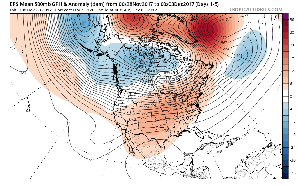 """The 500 mb height anomaly forecast map from the 00Z Euro Ensemble (EPS) averaged over the next 5 days (i.e., days 1-5) featuring higher-than-normal heights (orange) throughout much of the US along with a rather benign zonal (west-to-east) flow of air.Map courtesy """"tropicaltidbits.com""""."""