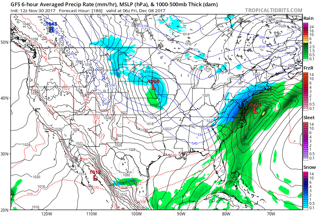 12Z operational GFS surface forecast map for next Thursday night with snow (in blue) predicted for the immediate I-95 corridor; map courtesy tropicaltidbits.com, NOAA/EMC