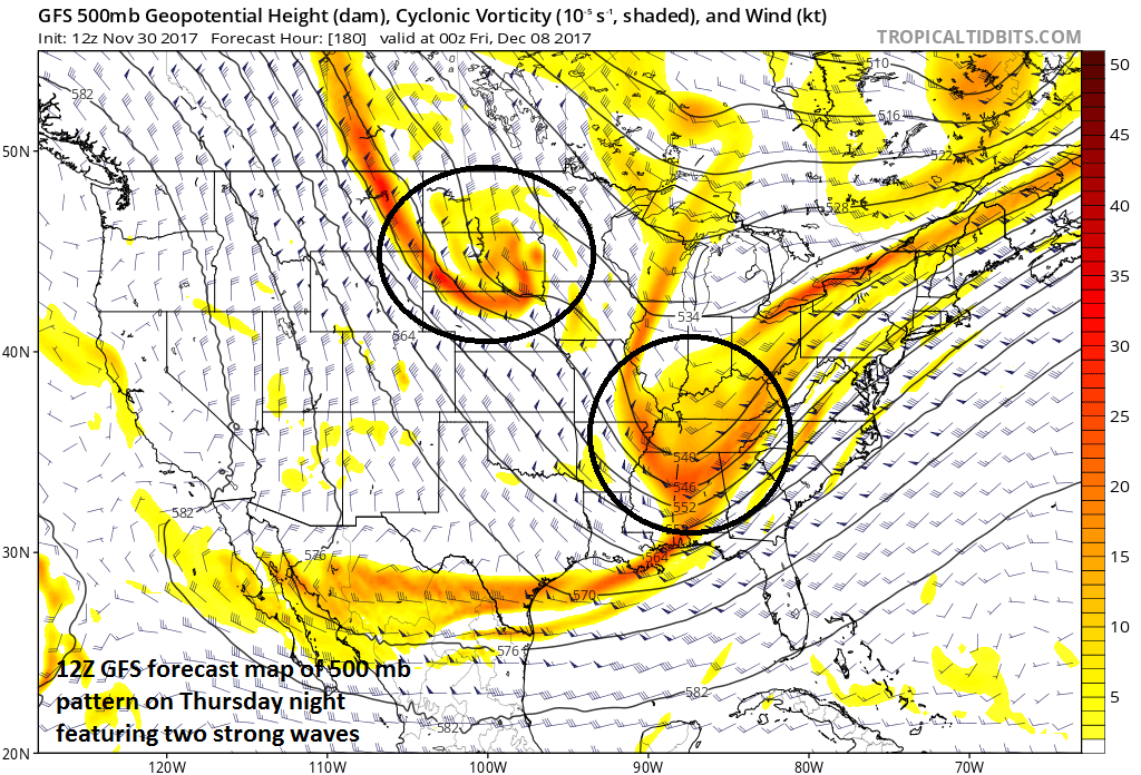 12Z operational GFS forecast map at 500 mb showing a complex pattern with two strong waves of energy that could result in some snow for the Mid-Atlantic region at the end of next week; courtesy tropicaltidbits, NOAA/EMC