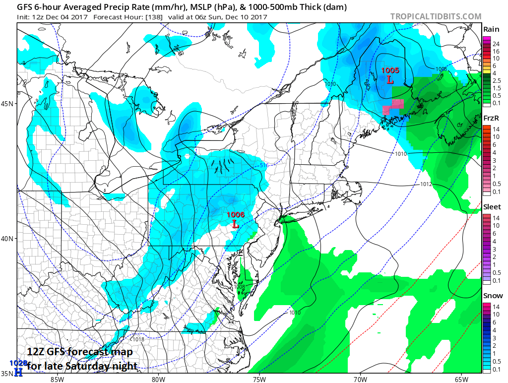 12Z GFS forecast map for late Saturday night with snow showers in parts of the Mid-Atlantic region (in blue); map courtesy tropicaltidbits.com, NOAA/EMC