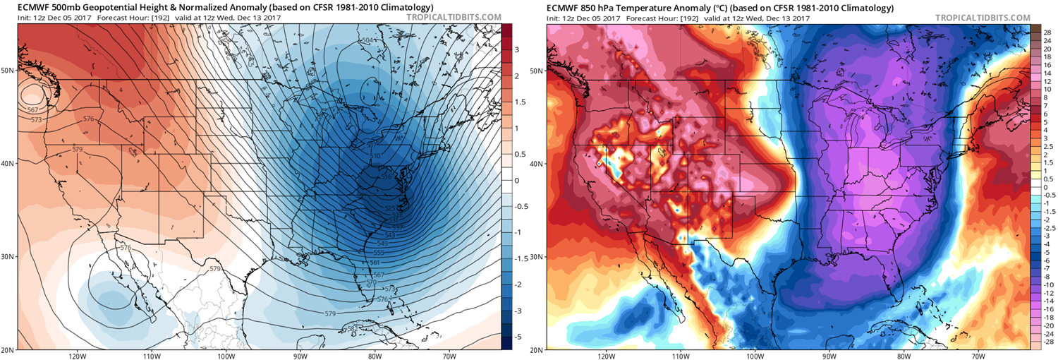 12Z Euro forecast maps of 500 mb height anomalies (left) and 850 mb temperature anomalies (right) for next Wednesday, December 13th; maps courtesy tropicaltidbits.com