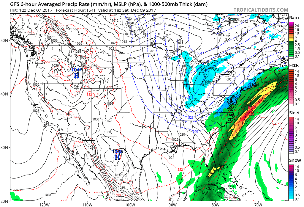 12Z GFS forecast map for early Saturday afternoon with snow (in blue) in the I-95 corridor; map courtesy NOAA/EMC, tropicaltidbits.com
