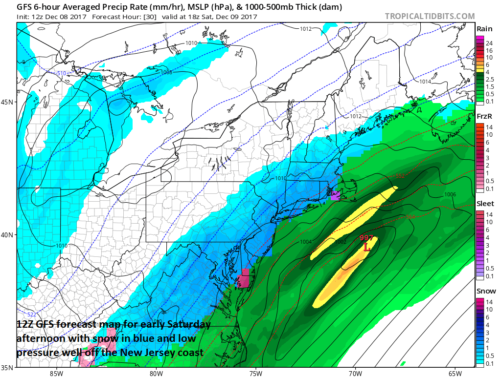 12Z GFS forecast map for 1pm on Saturday with snow (in blue) throughout the I-95 corridor; map courtesy NOAA/EMC, tropicaltidbits.com