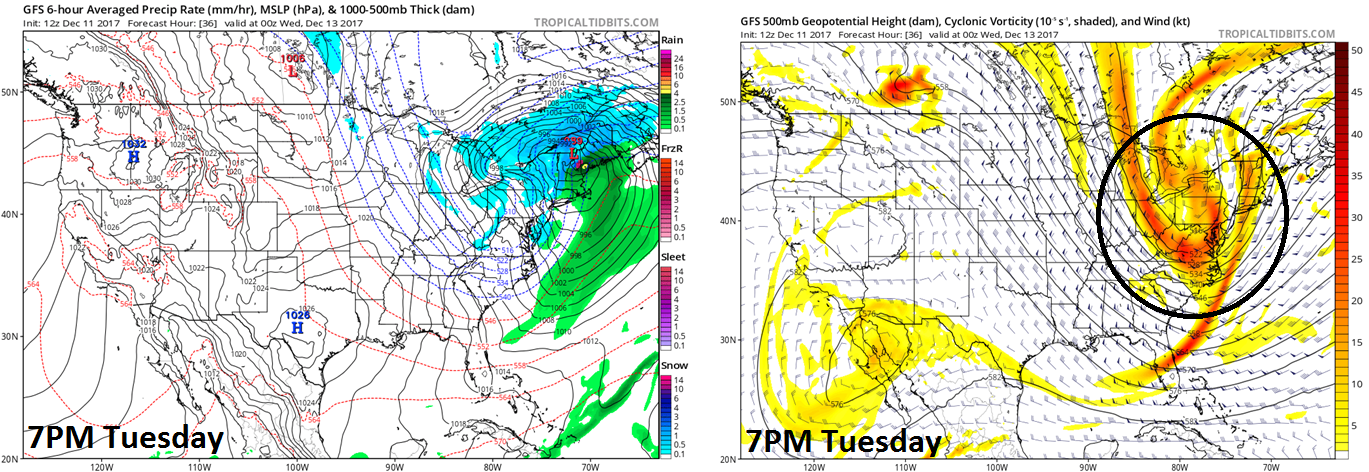 12Z GFS surface forecast map (left) and 500 mb forecast map (right) for Tuesday evening; map courtesy NOAA/EMC, tropicaltidbits.com