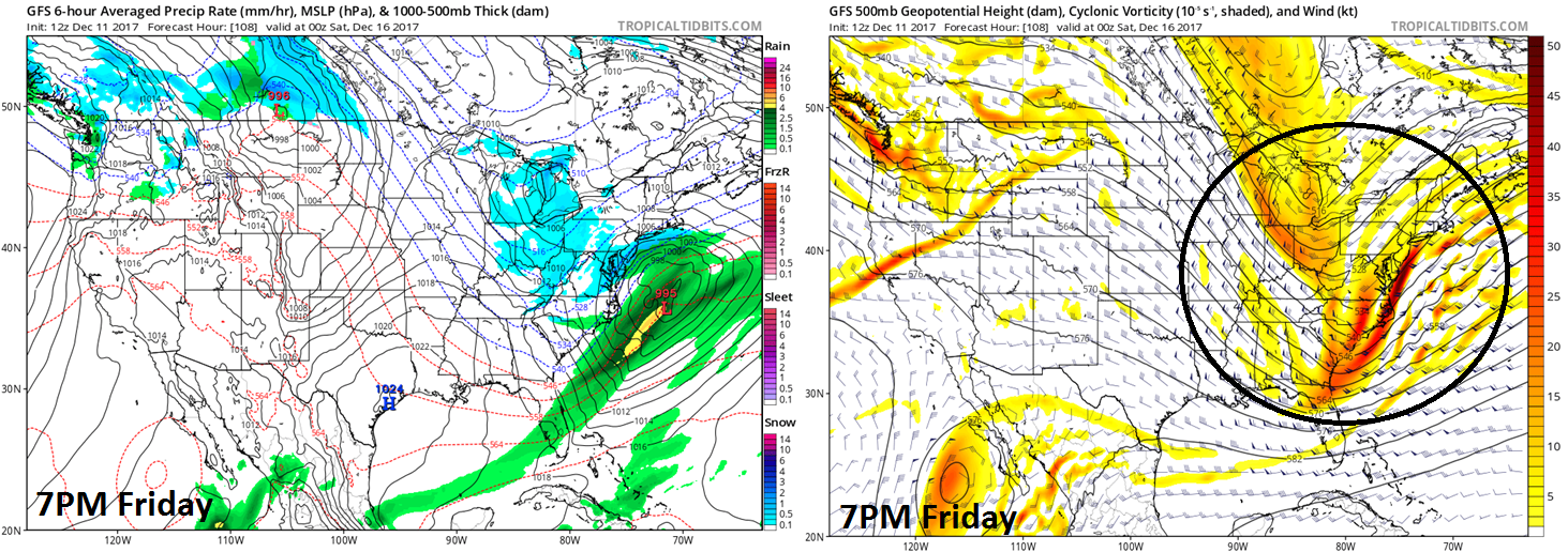 12Z GFS surface forecast map (left) and 500 mb forecast map (right) for Friday evening; map courtesy NOAA/EMC, tropicaltidbits.com