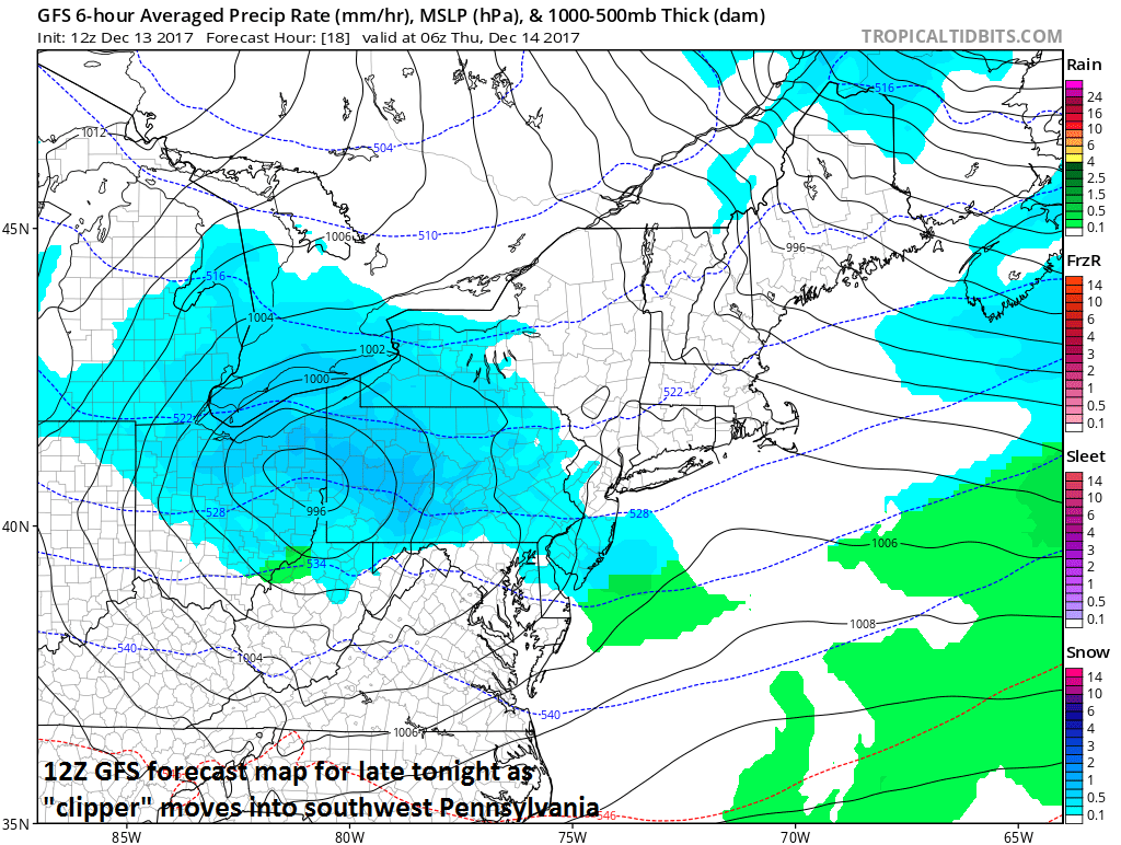 12Z GFS forecast map for late tonight (snow in blue); map courtesy NOAA/EMC, tropicaltidbits.com