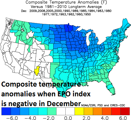 Temperature anomaly composite map for negative EPO in December